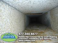 duct after removal drywall dust