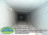 white dust in duct before the cleaning